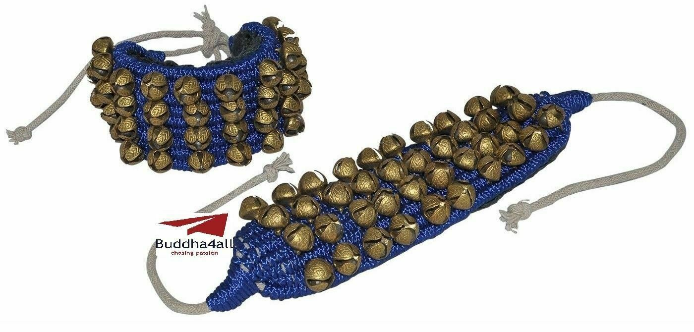 Classical Dance Accessories Ghungroo Best Quality 4 Line 80 Dancing Bells(Blau)
