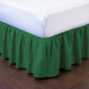 """HUNTER NEW 1PC 14"""" DROP SOLID PLAIN BED SKIRT WITH SPLIT CORNERS IN ALL SIZES"""