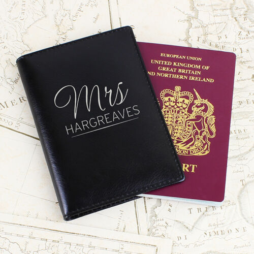 Covers Set Leather His /& Hers Couple PERSONALISED Mr /& Mrs PASSPORT Holders