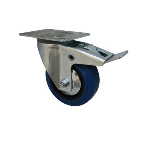 Set 100 mm Blue Wheels Elastik Rollen als Lenkrolle 4B+4LDS Transportrollen
