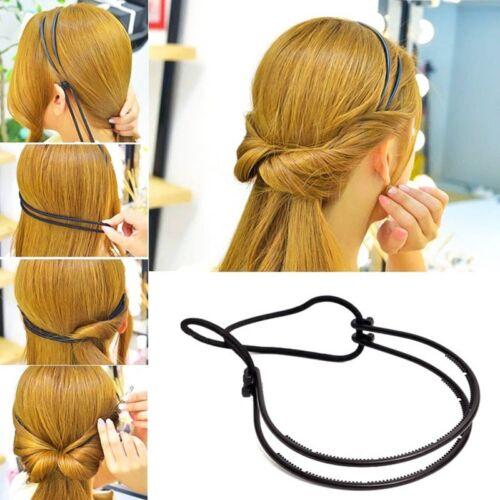 Heiße Damen Verstellbarer Elastischer Doppellagig Kopfband Haare Reifen Schwarz