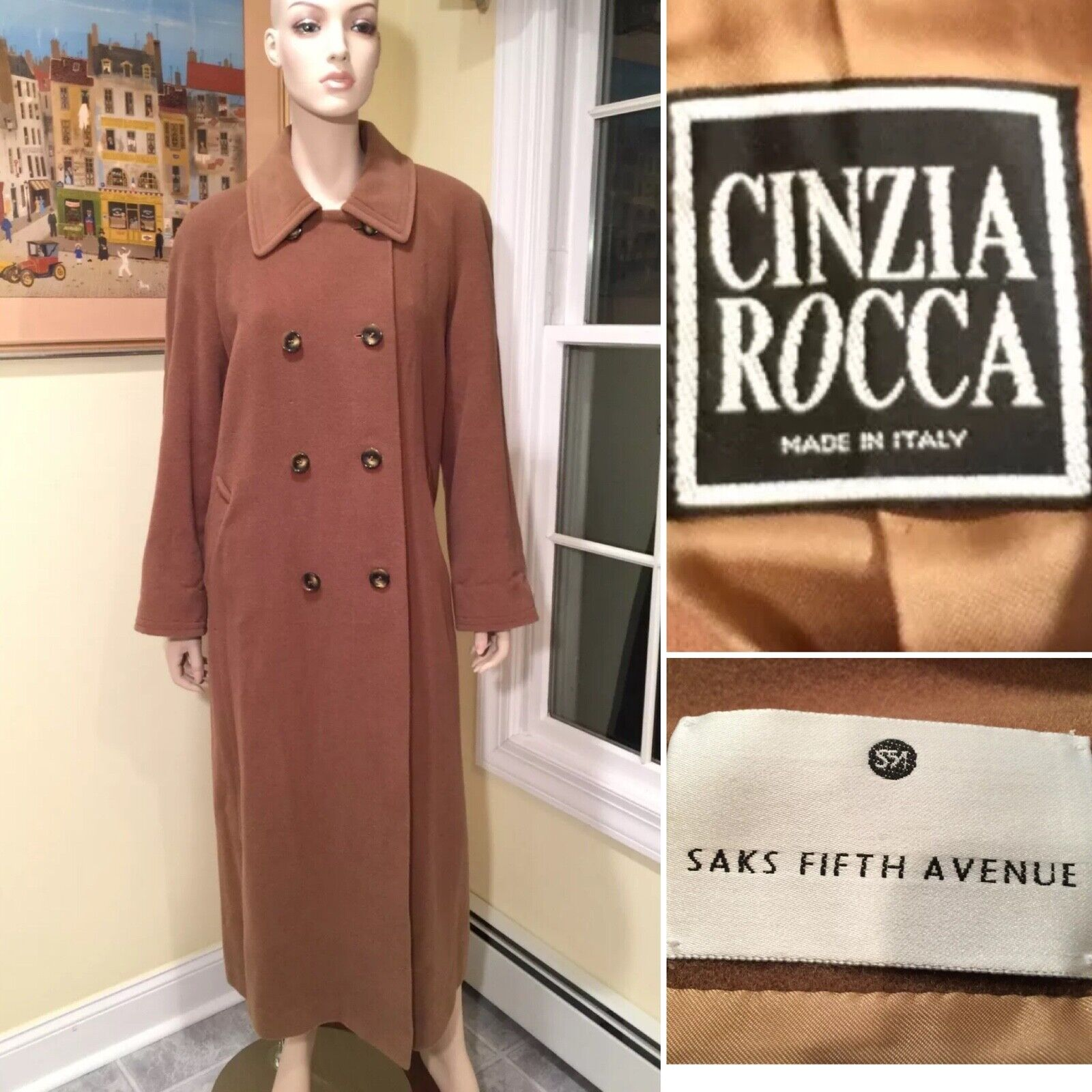 CINZIA ROCCA SAKS 100% Wool Camel Brown Double-Breasted Long Coat SIZE 10 Medium