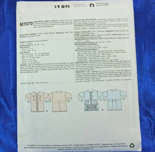 McCall/'s M7070 Pattern Use 2 Purchased Sweatshirts to create this easy jacket