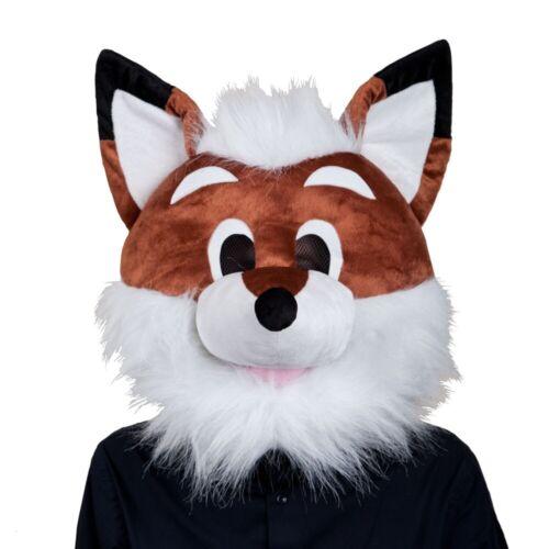 Adult FOX HEAD MASK Plush Mascot Fancy Dress Costume Breathable Animal Padded