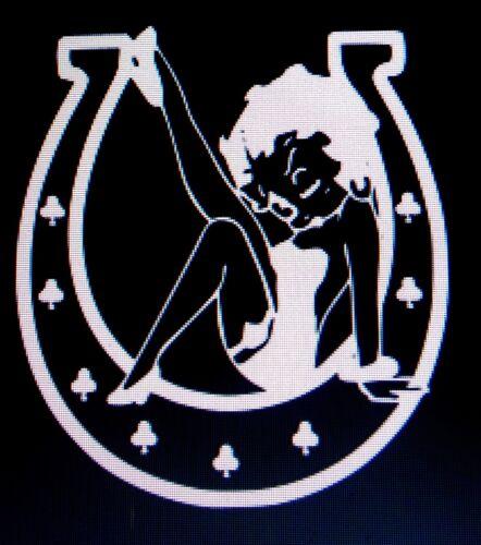 Betty Boop inside Horseshoe Sticker Vinyl Decal Car Truck Window Funny