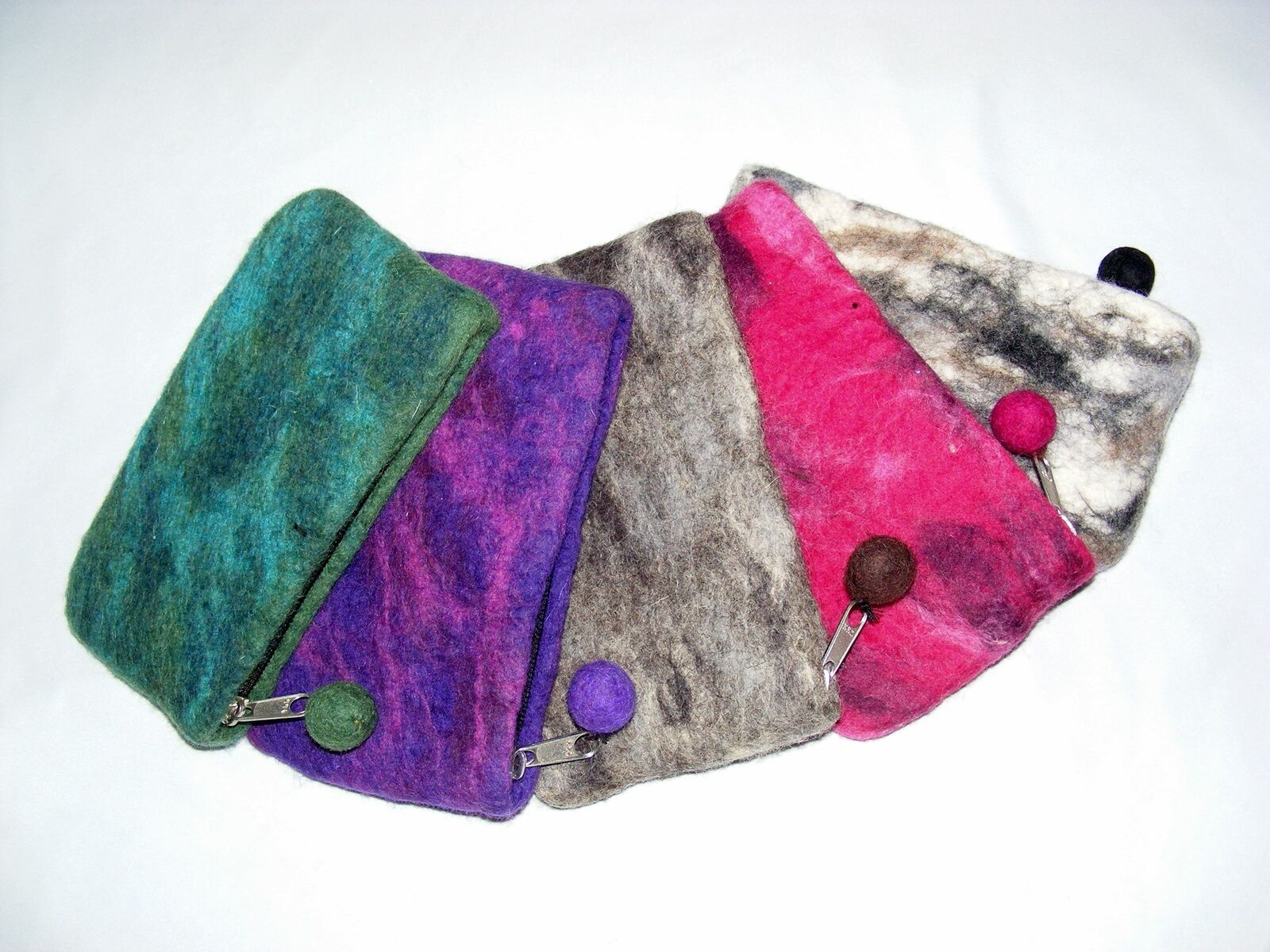 Felt Purse Or Purse From Sheep's Wool Felted 5 Colors Handmade Nepal