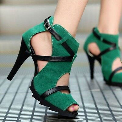 Women Stilettos High Heels Shoes Open Toes Sandals Crossed Straps Platform Pumps