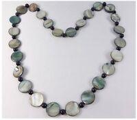 Muschelkette Halskette Muscheln Glasperlen Perlmutt Damenkette 70 cm Nickelfrei