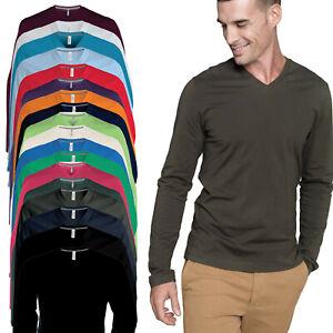 Kariban Uomo Slim Fit t-Shirt a Maniche Lunghe Collo a V Tinta Unita in Cotone