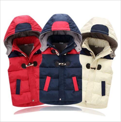 Kid Children Boy Girl Winter Warm Cotton Hooded Waistcoat Vest Jacket Clothing