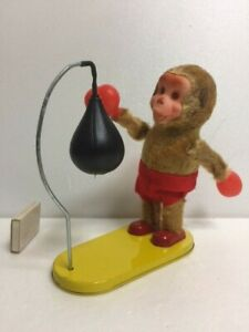 Fuji-Press-Boxing-Monkey-Tin-Punching-Ball-Wind-up-Doll-Height-18-8cm-250g-Japan