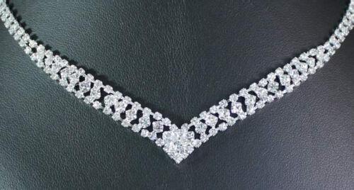 V SHAPE CLEAR AUSTRIAN RHINESTONE CRYSTAL NECKLACE EARRINGS SET WEDDING N1729