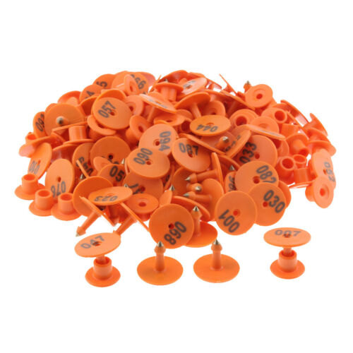 100PCS Small Numbered Livestock Ear Tag for Pig Cow Cattle Goat Sheep Orange