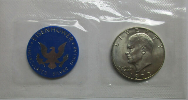 1972-S Uncirculated 40/% Silver Eisenhower IKE Dollar Coin Mint Packaging UNC
