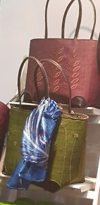 Leather With Fibre And Handbags Handles Coconut Corners Beautiful Trim fwHqpH