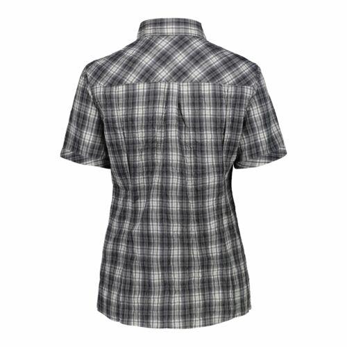 CMP Bluse Hemd WOMAN SHIRT grau atmungsaktiv antibakteriell UV-Schutz kariert