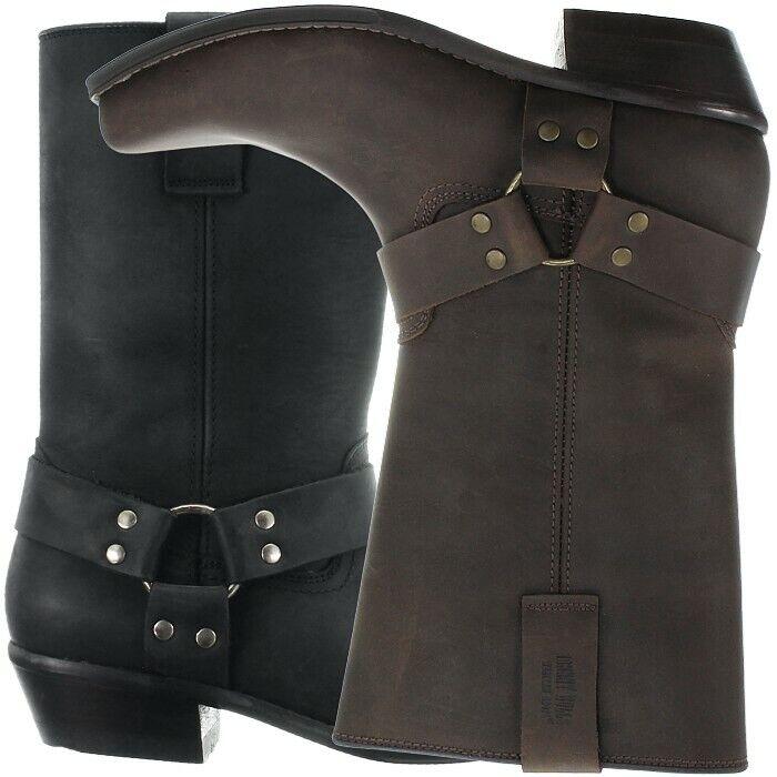 Johnny Bulls Cowboy Biker Western boots black brown Men's leather booties NEW