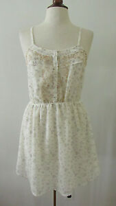 Womens-Anthropologie-STARING-AT-STARS-Ivory-amp-Blue-Floral-Sheer-Dress-M-H31