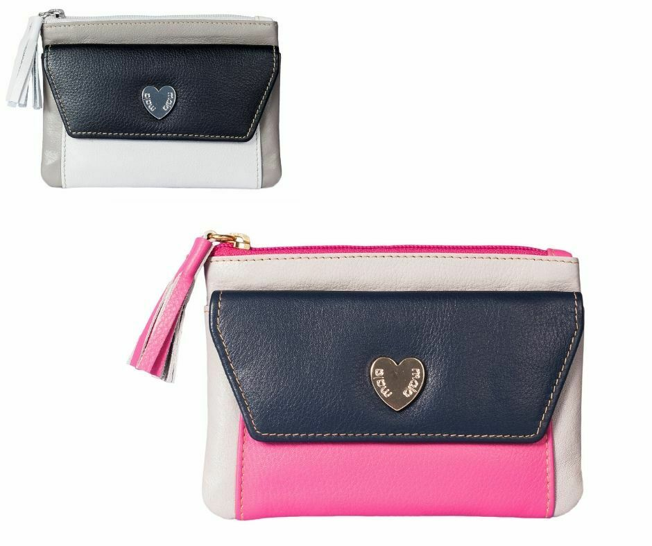 Heart Leather RFID Coin & Card Purse Mala Leather soft leather ladies Saffron