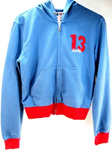 Lucky Brand Hoodie Sweat Chirt Size S Blue Red 100