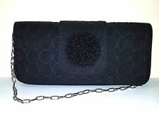 VERA BRADLEY Blk Quilted Shoulder Bag/Clutch w/Beaded Flower Detail Chain Strap