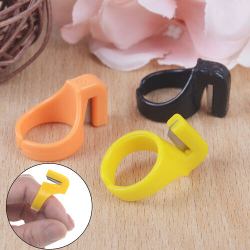 3Xplastic sewing thimble ring with blade finger thimble thread cutter DIY too Au