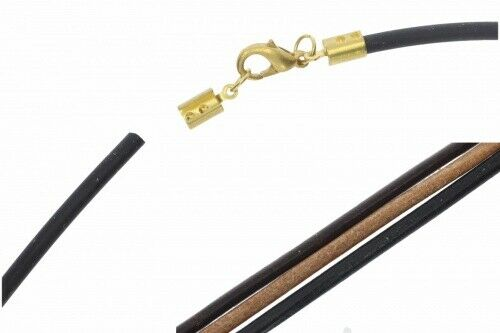 Gold matt Farbauswahl Roma Leder Halskette 3mm VS189 Karabiner 38-100cm