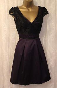Karen-Millen-Lace-Panel-Fit-Flare-Cap-Sleeve-Purple-V-Skater-Party-Dress-UK-8-36