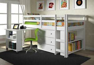 Details about Kids Furniture Set with Twin Loft Bed, Desk, Dresser &  Bookcase in One