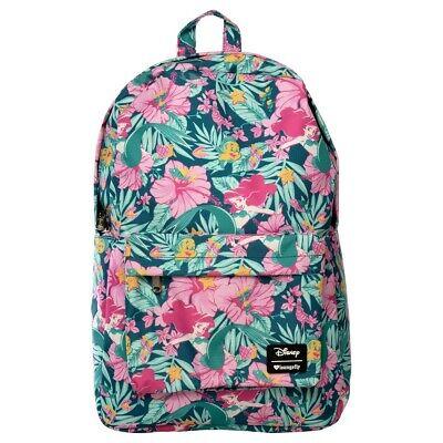 $ LOUNGEFLY School Bag DISNEY Backpack LITTLE MERMAID ARIEL FLOUNDER Pink Green