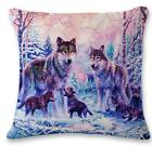 "Home Decor Soft Linen Cushion Cover Pillowcase Sofa 45cm/18"" Wolf Family #6 T"