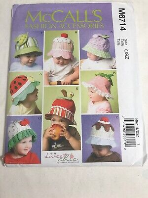 OOP McCall/'s 6714 Infant//Toddlers/' Hats Pattern from Sew Sweet Chic Reduced!