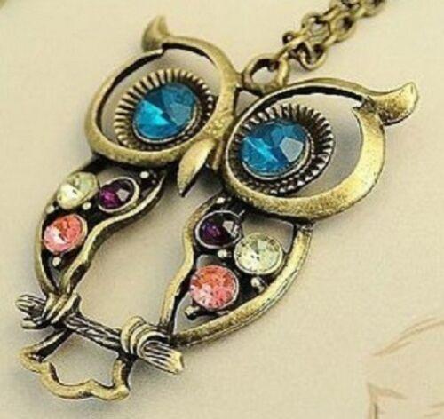 Vintage Rhinestone OWL Pendant Long Chain Necklace Jewellery Antique Womans