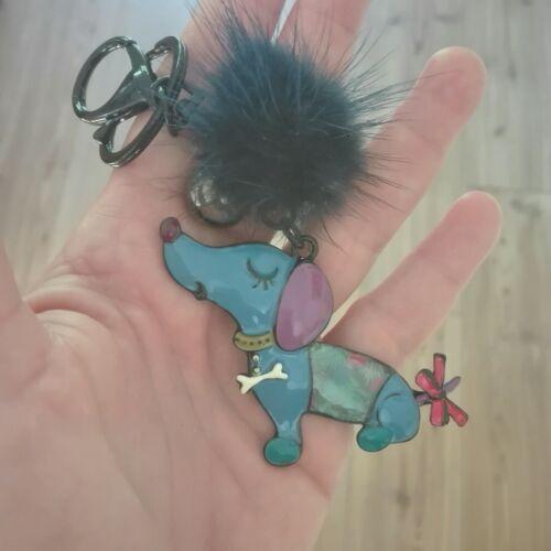Anhänger aus Emaille für Schlüssel oder Tasche Schmuck Blauer DACKEL HUND
