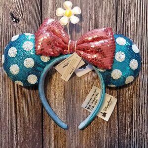 cb7f7c5690b Disney Parks Teal Polka Dot Minnie Ears Sequin Headband Hat with ...