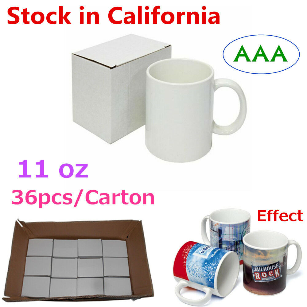 36pcs 11oz White Blank Cups Mugs Heating Transfer Press Sublimation