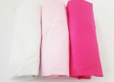 3 x COT BED CRIB  FITTED SHEET40x90 60x120 cm 70x140 cm PURE COTTON pink white