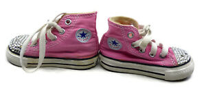 21ec3d0be57a Rhinestone Converse All Star High Top Girls Baby Infant Shoes Size 3 ...