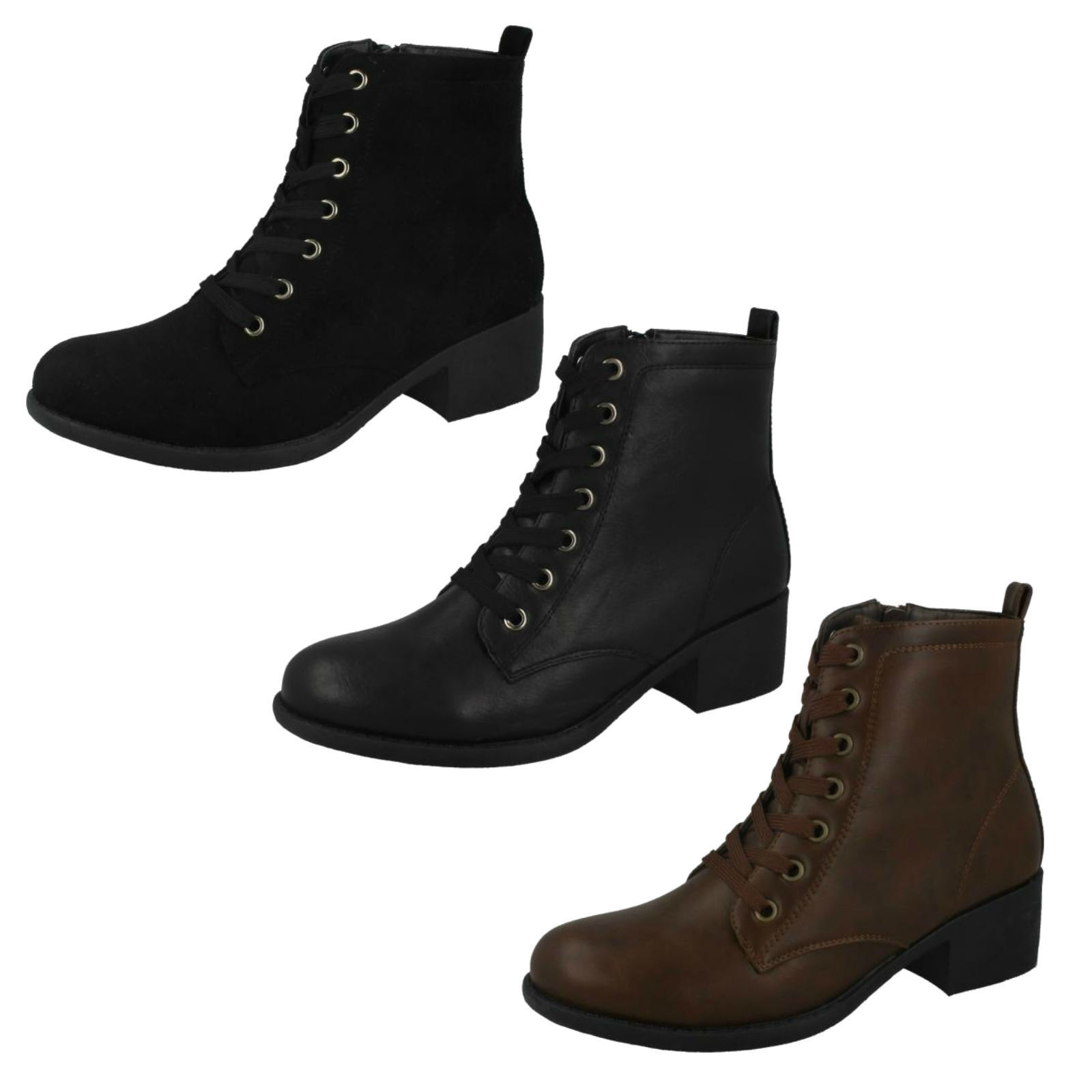 LADIES SPOT ON MID HEEL ZIP LACE UP CASUAL WINTER ANKLE BOOTS SIZE F50863