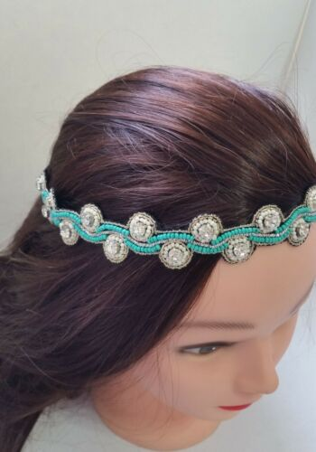 Silver Turquoise Beaded Crystal Headband Hair Accessories India N2-2//22