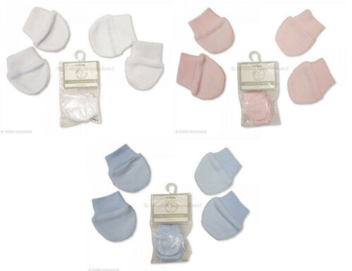 2 Pairs of Tiny Baby Scratch Mittens Mitts Premature Pink Blue White 100/% Cotton