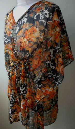 Orange Chiffon Short Kaftan Fits 14-22 Floral Sequin Tunic Top Cover Up