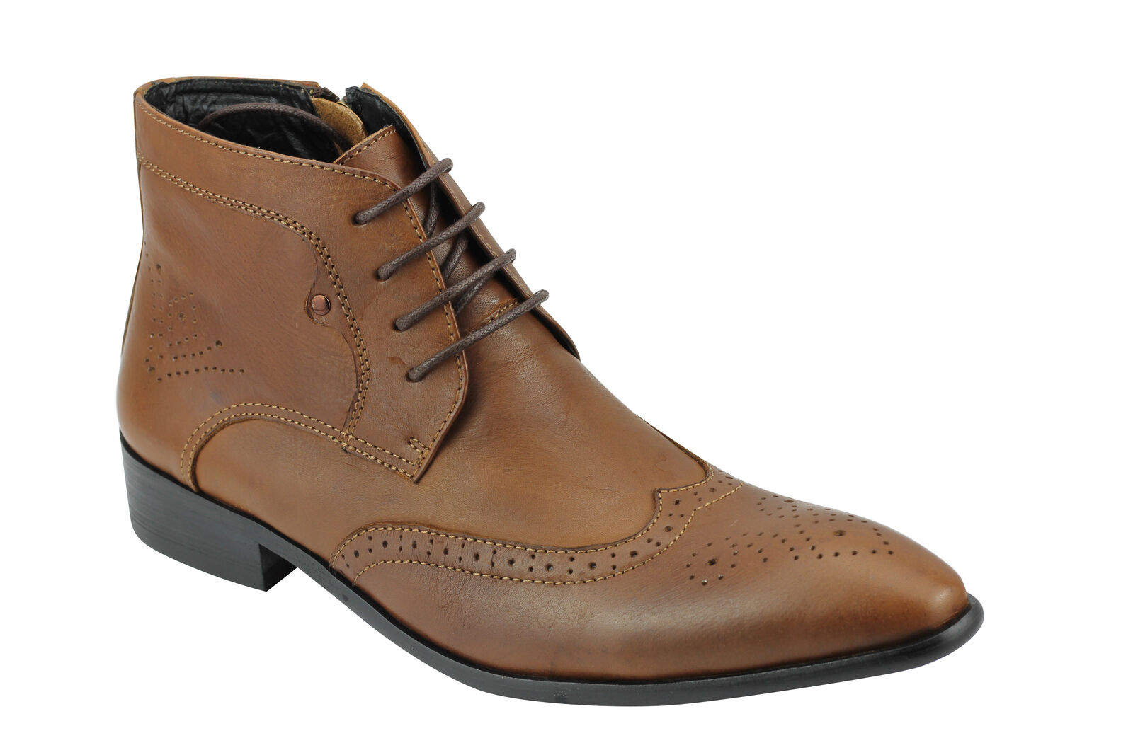 Hombre Real Leather Brogues botas botas botas Smart Formal Lace up & Zip Ankle Zapatos Talla 6 12 d52fdd