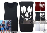 New Womens Baggy Laser Cut Out Skull Back Sleeveless T Shirt Top Size 8-14