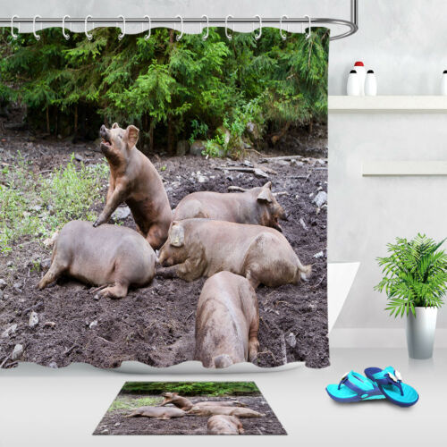 Pigs Playing in the Mud Bathroom Waterproof Shower Curtain Liner Fabric Hooks