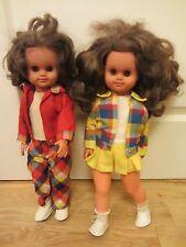 """VINTAGE UNMARKED 17 """"Girl WALKER bambole in stile retrò con abiti originali lotto OdL"""