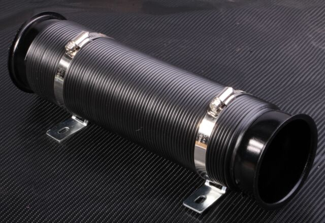 "3"" Air Intake Hose Flexible Pipe Filter Cold Feed Duct Induction Kit Black 75mm"