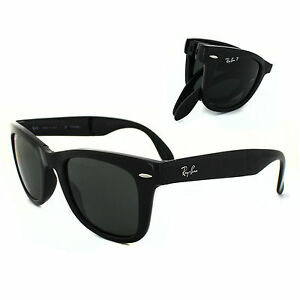 84b4a52d28e00 Ray-Ban RB4105 601 58 50mm Folding Black Frame With Green Polarized Wayfarer  Sunglasses