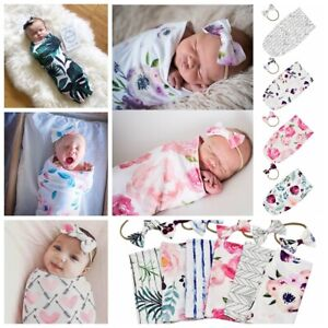 Newborn-Baby-Infant-Floral-Swaddle-Sleeping-Bag-Sack-Wrap-Headband-Set-Photoprop