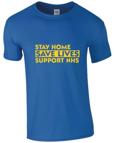 STAY HOME SAVE LIVES QUARANTINE T Shirt Support NHS Social Health Mens Tees T